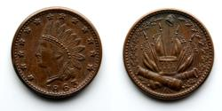 Us Coins - LT0002 CIVIL WAR TOKEN: 1863, Liberty Indian Head with Drum and Flags Above Cannons, Union 61, Rarity 3