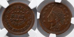 Us Coins - CIVIL WAR TOKEN: 1863 G Idler's Meat Market, NGC AU 58 BN. Only 2 Graded Higher