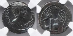 Ancient Coins - ROMAN IMPERATORIAL: Octavian (Augustus), AR Denarius, c 37 BC, NGC Ch VF, Beautiful Blue Toning