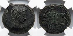 """Ancient Coins - PROVINCE OF ASIA?: Augustus, AE23, NGC XF, """"Augustus"""" in Wreath"""