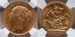 World Coins - AUSTRALIA:  1984M Australia 1 Gold Sovereign, St. George, NGC MS 61