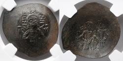 Ancient Coins - BYZANTINE EMPIRE: Alexius III, AD 1195-1203, BI Aspron Trachy, NGC AU