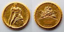 World Coins - SWITZERLAND: Undated Gilt Shooting Medal, Societe Suisse des Carabiniers, Maitrise Federale de Campagne, 300 Meter, 12.4g