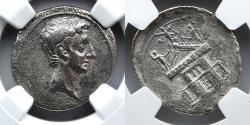 Ancient Coins - ROMAN IMPERATORIAL: Octavian (Augustus) AR Denarius, NGC Fine, Architrave of Temple Reverse