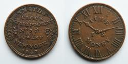 Us Coins - LT0002 HARD TIMES TOKEN: 1837, Smith's Clock Establishment, Bowery NY, Time Is Money