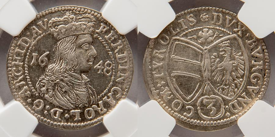 World Coins - AUSTRIA: 1648, Silver 3 Kreuzer, Archduke Ferdinand Charles, NGC AU58