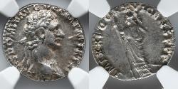 Ancient Coins - ROMAN EMPIRE: Domitian, AR Denarius, NGC Ch XF 4/4, 4/4, Minerva Standing