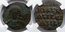 Ancient Coins - BYZANTINE EMPIRE: Anonymous AE Follis (6.82g), CLASS A3, NGC AU 4/5, 3/5