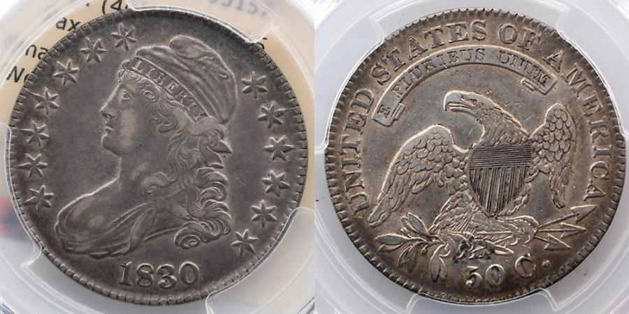 US Coins - UNITED STATES: 1830 Capped Bust Half Dollar, 50 Cents, Small 0, PCGS XF 40