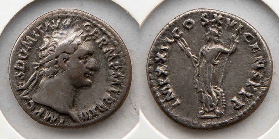 Ancient Coins - ROMAN EMPIRE: Domitian, AR Denarius, AD 81-96, Nicely Toned