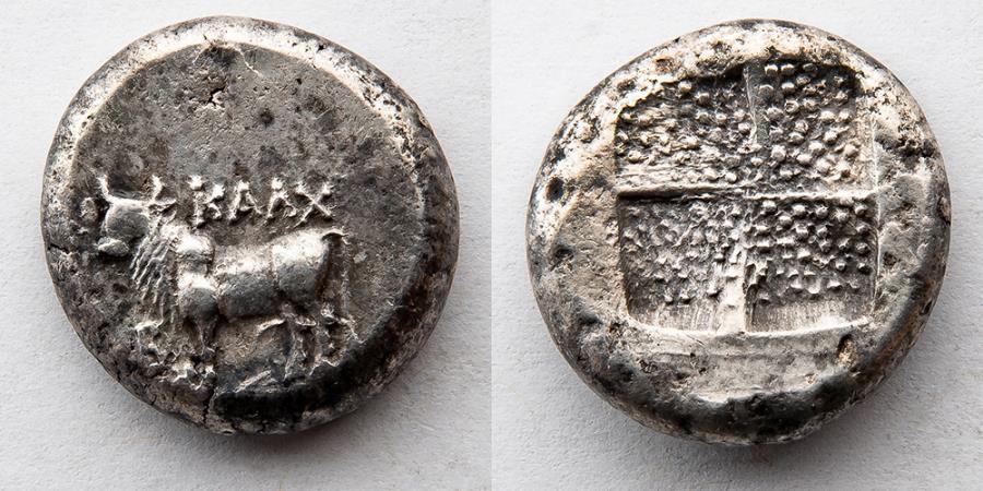 Ancient Coins - BITHYNIA, Kalchedon. Circa 367/6-340 BC. AR Tetradrachm (22mm, 15.08 g), Bull and Incuse Square