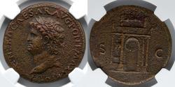 Ancient Coins - ROMAN EMPIRE: Nero AE Sestertius, NGC Choice XF, 5/5, 2/5, Triumphal Arch Reverse