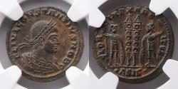 Ancient Coins - ROMAN EMPIRE: Constantius II, AD 337-361, AE3 or BI Nummus (19mm, 3.01g), NGC MS 5/5, 4/5, Siscia Mint
