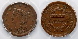 Us Coins - HALF CENT:  1853, PCGS AU 50