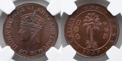World Coins - CEYLON: 1945 Cent, NGC MS 65 RB, NGC LISTS ONLY ONE FINER!