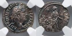 Ancient Coins - ROMAN EMPIRE: Antoninus Pius, AR Denarius, NGC Choice AU, 5/5, 2/5, Annona with Grain Ears, Anchor, Modius, Rainbow Toning
