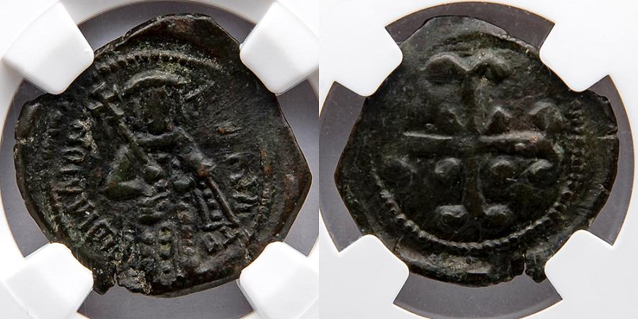Ancient Coins - BYZANTINE EMPIRE: Andronicus III Palaeologus (AD 1328-1341). AE Assarion (22mm). NGC XF, Exceptional for type