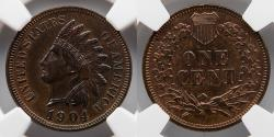 Us Coins - 1904 Indian Penny, 1C, NGC MS 62 BN