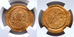 Ancient Coins - BYZANTINE EMPIRE: Maurice Tiberius, AV Solidus, NGC MS, Angel Standing Reverse