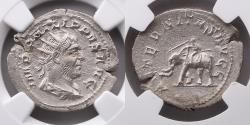 Ancient Coins - ROMAN EMPIRE: Philip (Phillip) I, The Arab, AD 244-249, AR Double Denarius / Antoninianus, NGC Ch XF, Elephant, Secular Games Issue