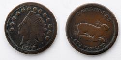 Us Coins - CIVIL WAR TOKEN: 1863 Carl Haas, 493 Vine St. Cincinnati, Ohio, Rabbit, Bunny, Rarity 3