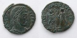 Ancient Coins - ROMAN EMPIRE: Constans, AE Nummis, AD 348-350 (15mm, 1.31g), Aquileia Mint, Two Victories facing, holding palm, branch, wreath