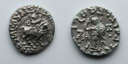 Ancient Coins - INDO-SCYTHIANS: Azes II, AR Drachm of Taxila Sirsukh, Mounted King, Athena with Shield and Spear