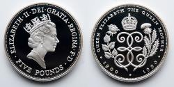 World Coins - GREAT BRITAIN: 1990 Five 5 Pound, Cupro Nickel, Celebrating 90th Birthday, The Queen Mother
