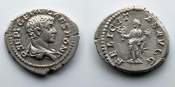 Ancient Coins - ROMAN EMPIRE: Geta, AR Denarius, Felicitas Holding Caduceus and Cornucopia