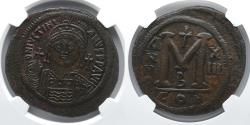 Ancient Coins - BYZANTINE EMPIRE: Justinian I, AE Follis, NGC AU 5/5, 2/5, 21.92g, Large M and Cross