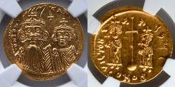 Ancient Coins - BYZANTINE EMPIRE: Constans II and Constantine IV, AV Solidus, NGC MS, 5/5, 4/5, Heraclius and Tiberius Reverse