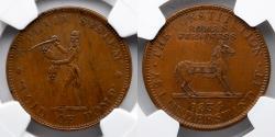 Us Coins - CIVIL WAR TOKEN: 1834 The Constitution, NGC AU 58, Low-12, DeWitt-CE-1838-14, HT-25, W-10-310a