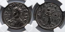 Ancient Coins - ROMAN EMPIRE: Probus, AR Aurelianianus, NGC Ch AU 5/5, 4/5, Salus Feeds Snake