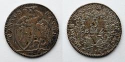 World Coins - SWITZERLAND, Canton of Basle: 1810 AR 5 Batzen, Gorgeous Toning, KM 199