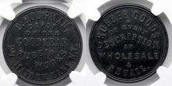 Us Coins - RUBBER TOKEN: Undated, c. 1800's, D. Hodgman, New York, NY, Goodyear Rubber Works, NGC MS 62, Black, S-610-H30A