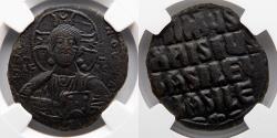 Ancient Coins - BYZANTINE EMPIRE: Anonymous Follis, Class A3, NGC Choice XF, 4/5, 5/5