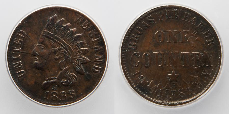 US Coins - CIVIL WAR TOKEN: 1863, Broas Pie Baker, Multi Errors, ICG AU 53, Shattered and Clashed Dies