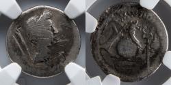 Ancient Coins - ROMAN IMPERATORIAL: Julius Caesar, AR Denarius, NGC G 4/5, 2/5, L Mussidius Longus
