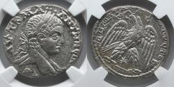 Ancient Coins - ROMAN ANTIOCH: Elagabalus, BI Tetradrachm, NGC XF, Eagle with Wreath