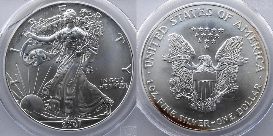 US Coins - 2001 Silver Eagle, PCGS Gem Uncirculated, WTC Ground Zero Recovery (9/11 New York Twin Towers Recovery Coin)