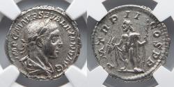 Ancient Coins - ROMAN EMPIRE: Severus Alexander, AR Denarius, NGC Choice XF, Jupiter Holding Thunderbolt and Scepter