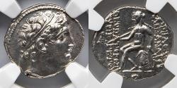 Ancient Coins - SELEUCID / SELEUKID: Alexander I, AR Drachm, NGC Ch AU, Apollo on Omphalus