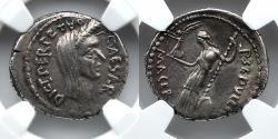 Ancient Coins - ROMAN IMPERATORIAL:  Julius Caesar AR Denarius, 44 BC, Veiled Head, NGC Choice XF, 5/5, 3/5, Sepullius Macer