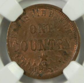 US Coins - CIVIL WAR TOKEN: 1863, Broas Pie Baker, NGC MS63 BN, Both sides, One Country, Clashed Obverse, New York