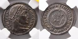 Ancient Coins - ROMAN EMPIRE: Constantine I, AD 307-337 (3.37g), AE3 or BI Nummus, NGC MS 5/5, 4/5, Silvering, Aquileia Mint