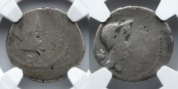 Ancient Coins - ROMAN IMPERATORIAL:  Mark Antony & Julius Caesar AR Denarius, c. 43BC, NGC AG, 3/3, 3/3