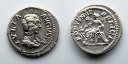 Ancient Coins - ROMAN EMPIRE: Julia Domna, AR Denarius, Fortuana Holding Cornucopia and Rudder, Child Before