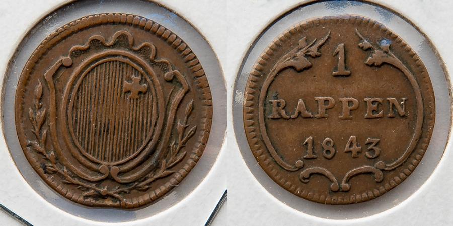 World Coins - SWITZERLAND: 1843 Schwyz Rappen, KM 62