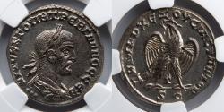 Ancient Coins - ROMAN ANTIOCH: Treb. (Trebonianuso) Gallus, BI Tetradrachm, NGC Ch AU, Eagle