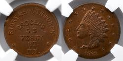 Us Coins - CIVIL WAR TOKEN: 1863 New York, NY, Story and Southworth, NGC MS63 RB, TOP POP!, F-630BV-3a